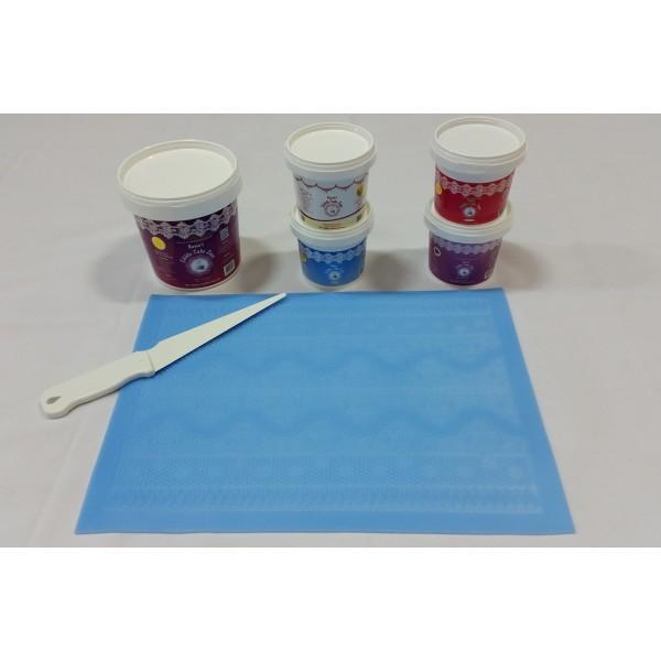 Cake Lace Starter Kit 31 ( Cake Lace Mix or Premix + Spreading Knife + Cake Lace Mats)