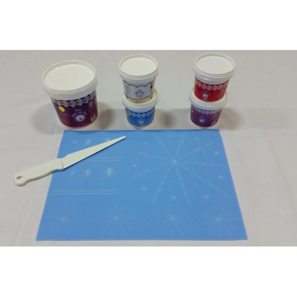 Cake Lace Starter Kit 28 ( Cake Lace Mix or Premix + Spreading Knife + Cake Lace Mats)